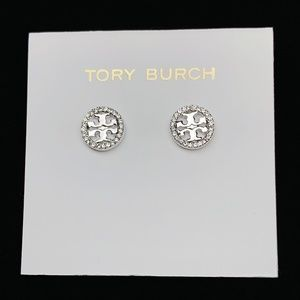 Authentic Tory Burch Circle Crystal Logo Stud